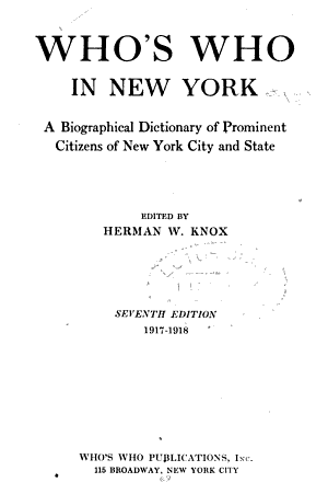 Who's who in New York City and State