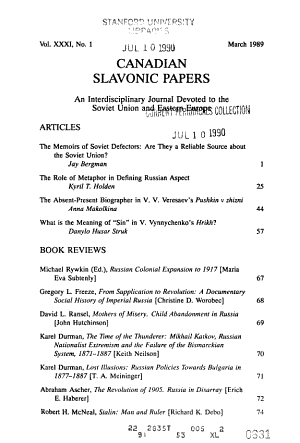 Canadian Slavonic Papers PDF