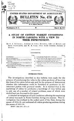 A Study of Cotton Market Conditions in North Carolina with a View to Their Improvement