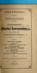 Proceedings of the     Anniversary of the Tennessee Baptist Convention     PDF
