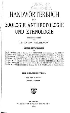 Handw  rterbuch der Zoologie  Anthropologie und Ethnologie PDF
