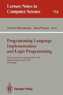 Programming Language Implementation and Logic Programming PDF