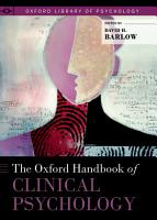 The Oxford Handbook of Clinical Psychology PDF