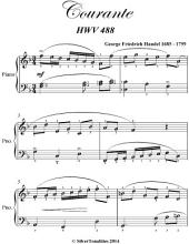 Courante Hwv 488 Elementary Piano Sheet Music