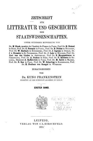 Vierteljahrsschrift f  r Staats und Volkswirtschaft  f  r Litteratur und Geschichte der Staatswissenschaften aller L  nder PDF