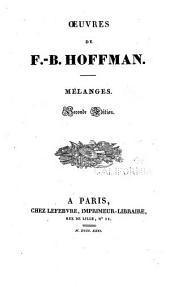 Oeuvres de F.-B. Hoffmann: Mélanges