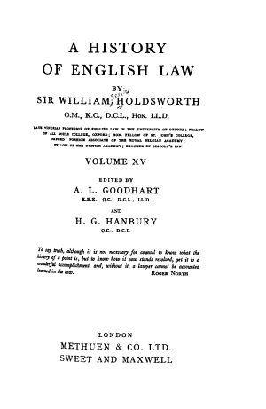 A History of English Law: Book 5, pt. 1 (continued) From the Reform act of 1832, to the Judicature acts (1873-1875)