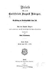 Briefe von und an Gottfried August Burger: Bände 1-2