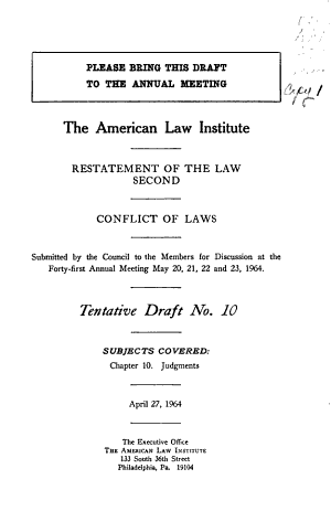 Restatement of the law second  conflict of laws