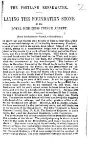 The Portland Breakwater  Laying the Foundation Stone by His Royal Highness Prince Albert  From the Sherborne Journal  with Additions PDF
