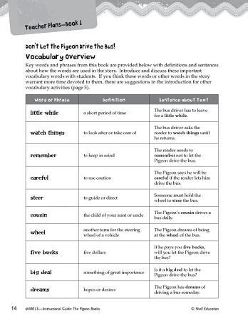 The Pigeon Books Vocabulary Activities PDF
