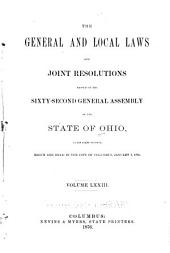 Acts of the State of Ohio: Volume 73
