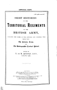 Short Histories of the Territorial Regiments of the British Army PDF