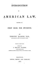 Introduction to American Law: Designed as a First Book for Students