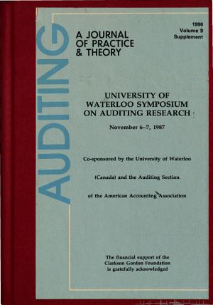 University of Waterloo Symposium on Auditing Research  November 6 7  1987 PDF