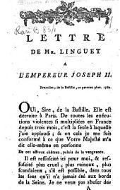 Lettre de Mr. Linguet a l'empereur Joseph 2