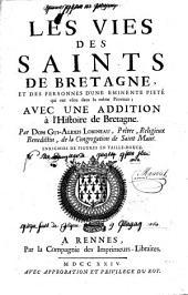 Les vies des saints de Bretagne et de personnes d'une éminente piété qui ont vécu dans la même province