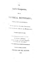 The Youth s Companion  Or an Historical Dictionary  Etc PDF