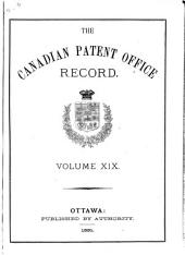 Canadian Patent Office Record: Volume 19