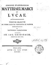Synopsis Evangeliorum Matthaei, Marci et Lucae
