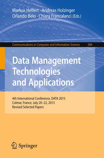 Data Management Technologies and Applications PDF