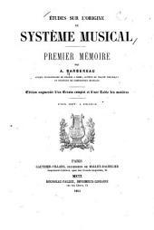 Études sur l'origine du système musical: Premier mémoire