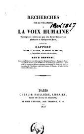 Recherches sur le mécanisme de la voix humaine