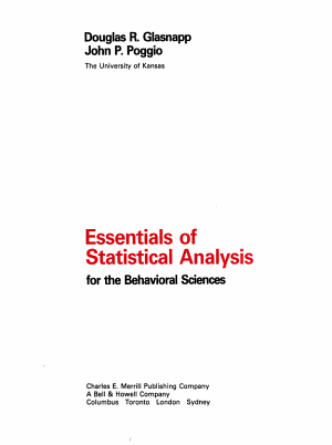 Essentials of statistical analysis for the behavioral sciences