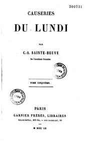 Causeries du lundi: Volumes 3 à 4