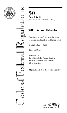 Code Of Federal Regulations Wildlife And Fisheries PDF