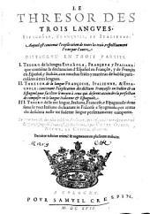 Le Thresor des trois langues, espagnole, françoise et italienne: Volume1