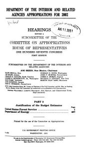 Department of the Interior and Related Agencies Appropriations for 2002