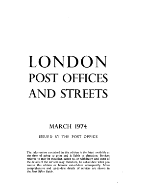 London Post Offices and Streets PDF