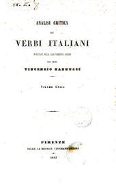 Analisi critica dei verbi italiani investigati nella loro primitiva origine