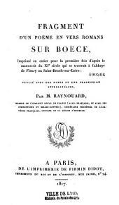 Fragments d'un poême en vers, romans sur Boèce
