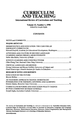 Curriculum and Teaching PDF