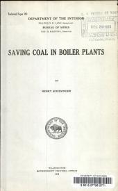 Saving coal in boiler plants