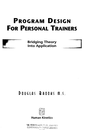 Program Design for Personal Trainers PDF