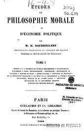 Études de philosophie morale et d'économie politique: Volume1