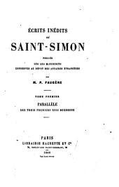 Écrits inédits de Saint-Simon: Parallèle des trois premiers rois Bourbons. 1880