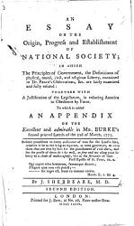 An Essay on the Origin, Progress and Establishment of National Society