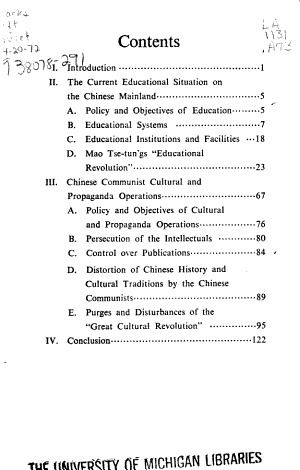 An Analysis of Chinese Communist Educational and Cultural Affairs