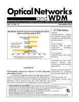 Optical Networks WDM Monthly Newsletter November 2010 PDF