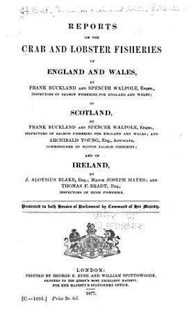 Report on the Crab and Lobster Fisheries of England and Wales PDF