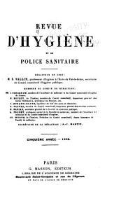 Revue d'hygiène et de médecine préventive: Volume5
