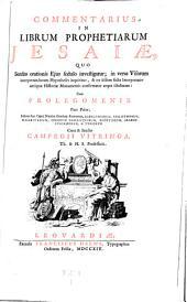 Commentarius in librum prophetiarum Esaiae (etc.) Cum prolegomenis (etc.).