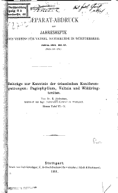 Beiträge zur kenntnis der triassischen koniferengattungen: Pagiophyllum, Voltzia und Widdringtonites