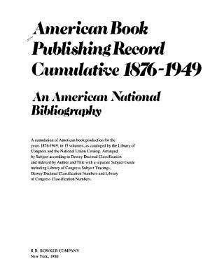 American Book Publishing Record Cumulative  1876 1949