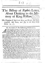 The Bishop Of Rapho S Letter About Drinking To The Memory Of King William  Etc