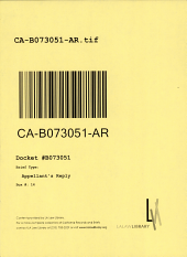 California. Court of Appeal (2nd Appellate District). Records and Briefs: B073051, Appellant's Reply